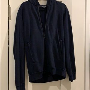 Men's Navy theory zip sweatshirt with hood
